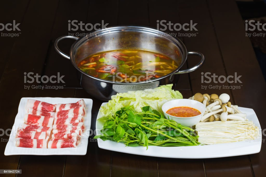 Hot pot set with Beef slides and vegetable. Asian food stock photo