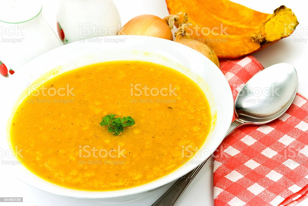 hot pot -soup-with ripe,baked pumpkin,mixed vegetables,spices stock photo