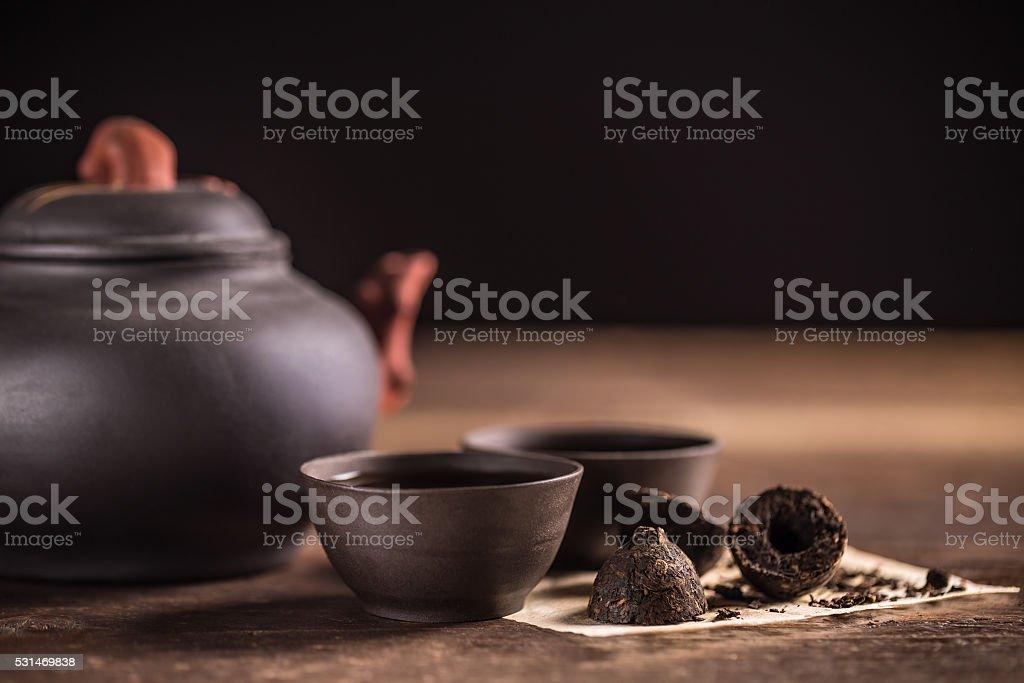 Hot pu-erh tea stock photo