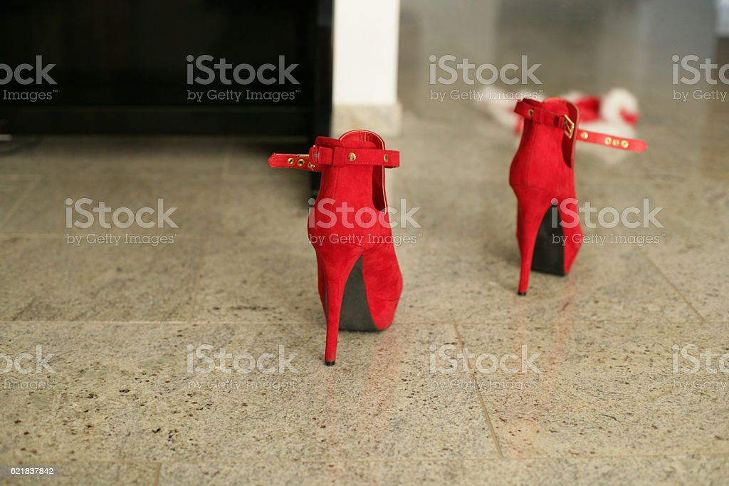 Hot red High Heels shoes stock photo