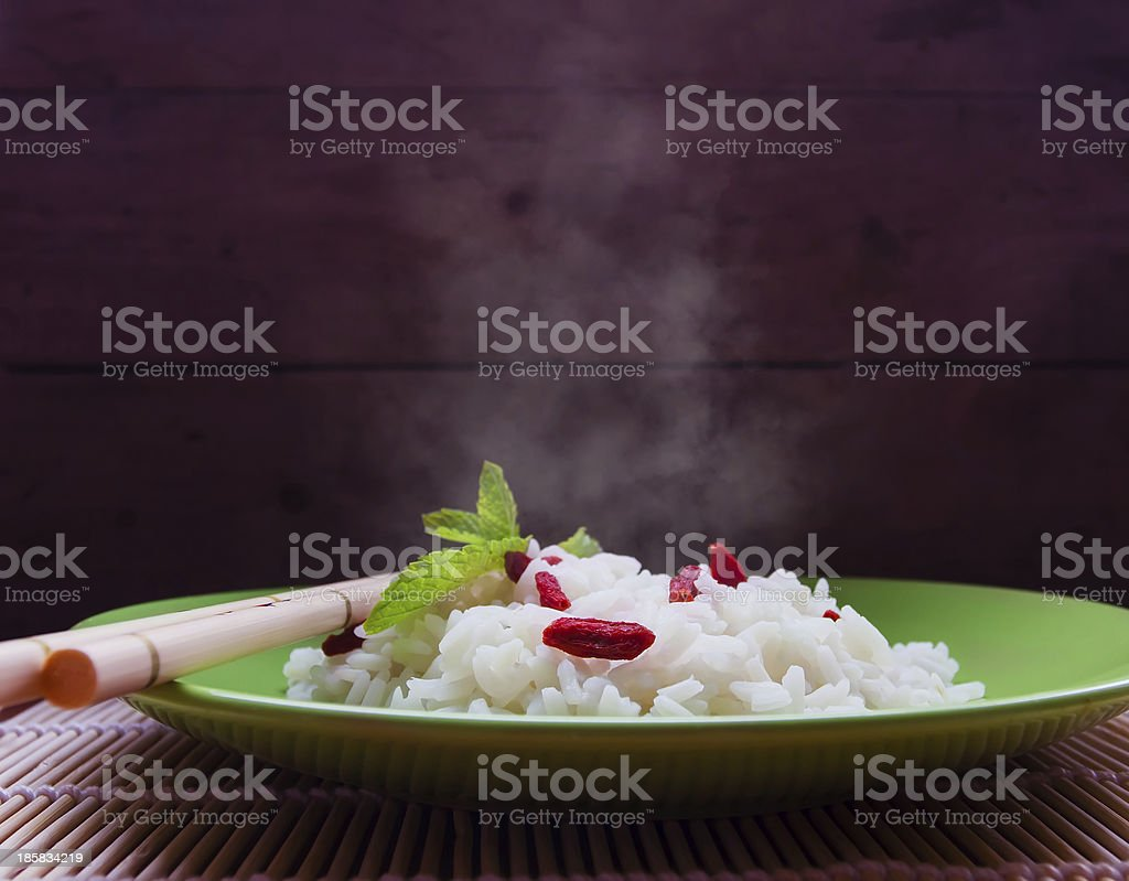 Hot rice with goji royalty-free stock photo