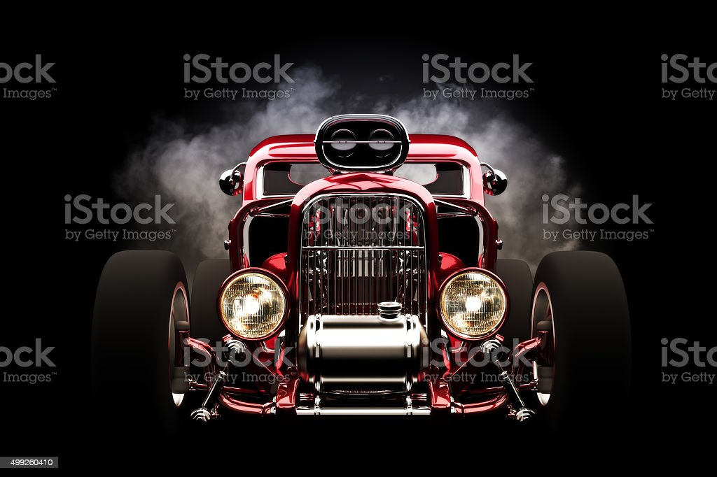 Hot rod front view with smoke burnout background stock photo