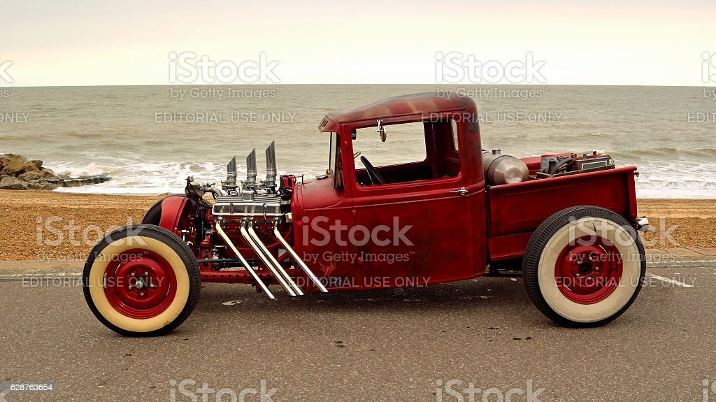 Hot Rod  pickup truck on seafront stock photo