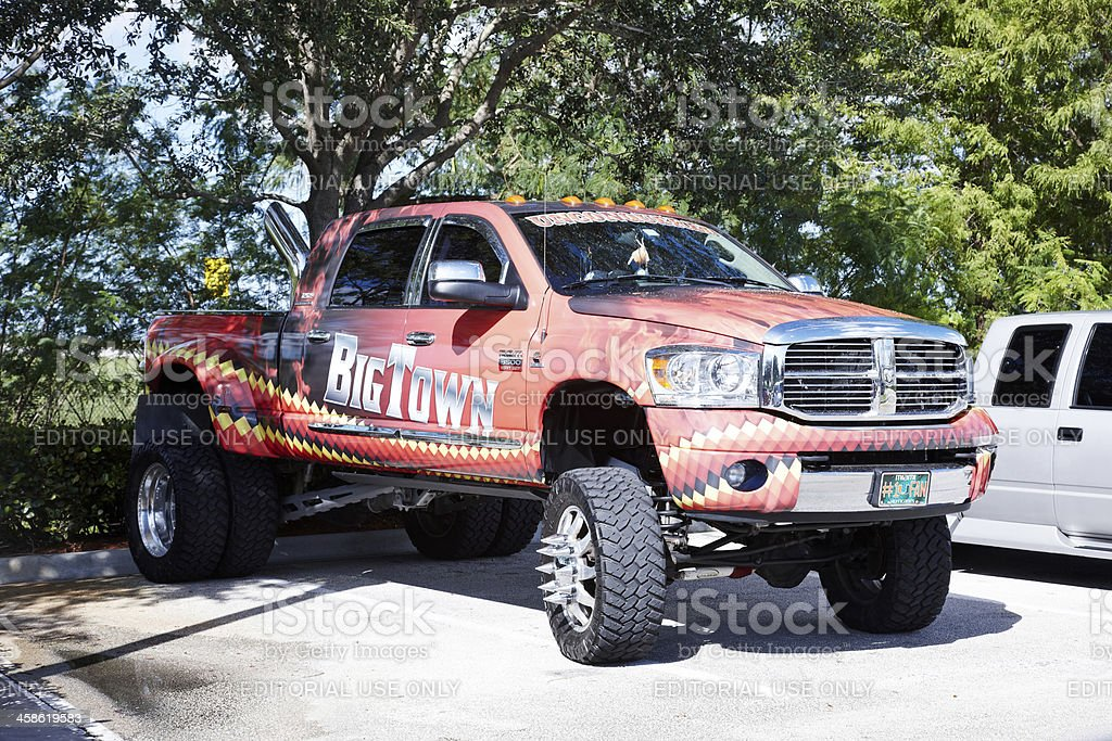 Hot Rod Truck in parking lot stock photo