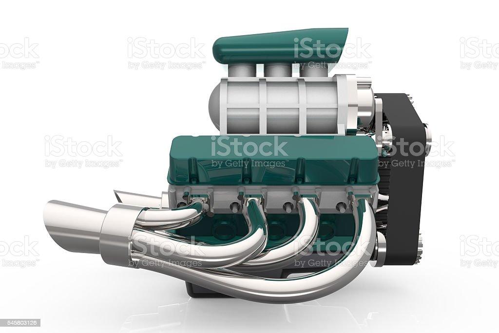 Hot rod V8 Engine 3D render stock photo