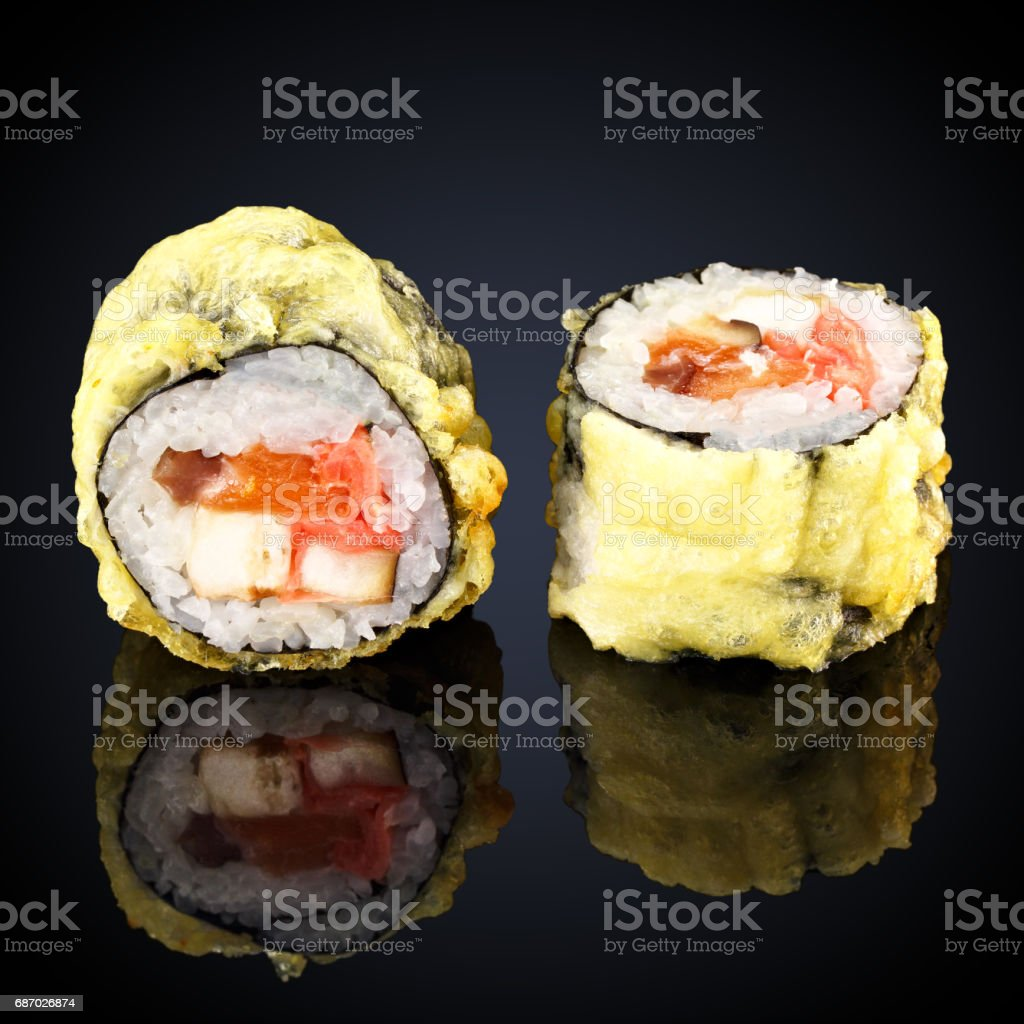 Hot roll with salmon, shrimp and cream cheese stock photo