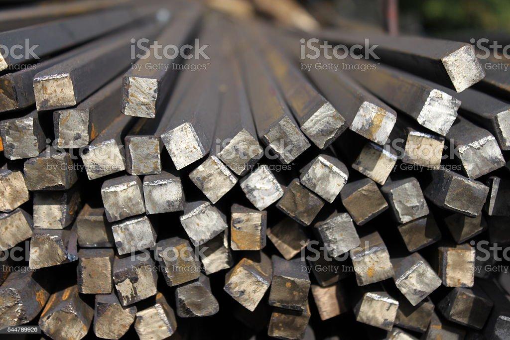 Hot rolled steel. Carbon bar. Rectangular metal. stock photo