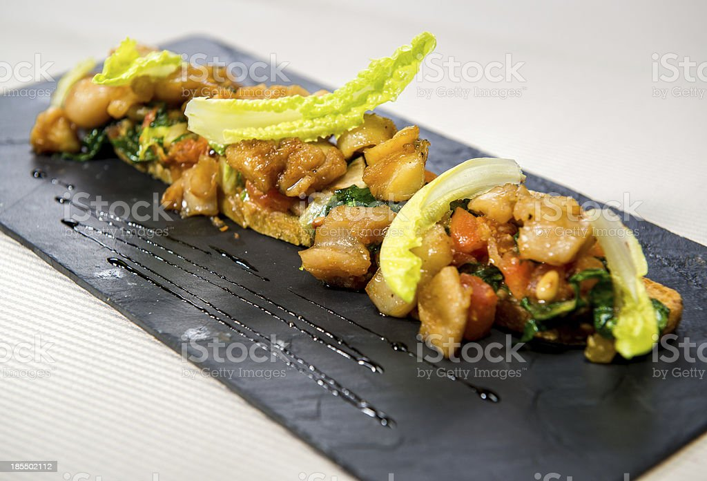 Hot salad with meat and vegetables royalty-free stock photo