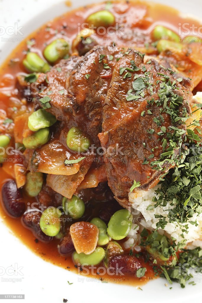 hot salad with peaces of meat stock photo