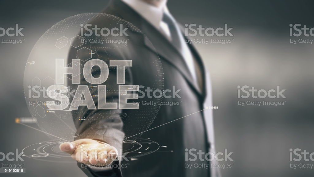 Hot Sale Businessman Holding in Hand New technologies stock photo
