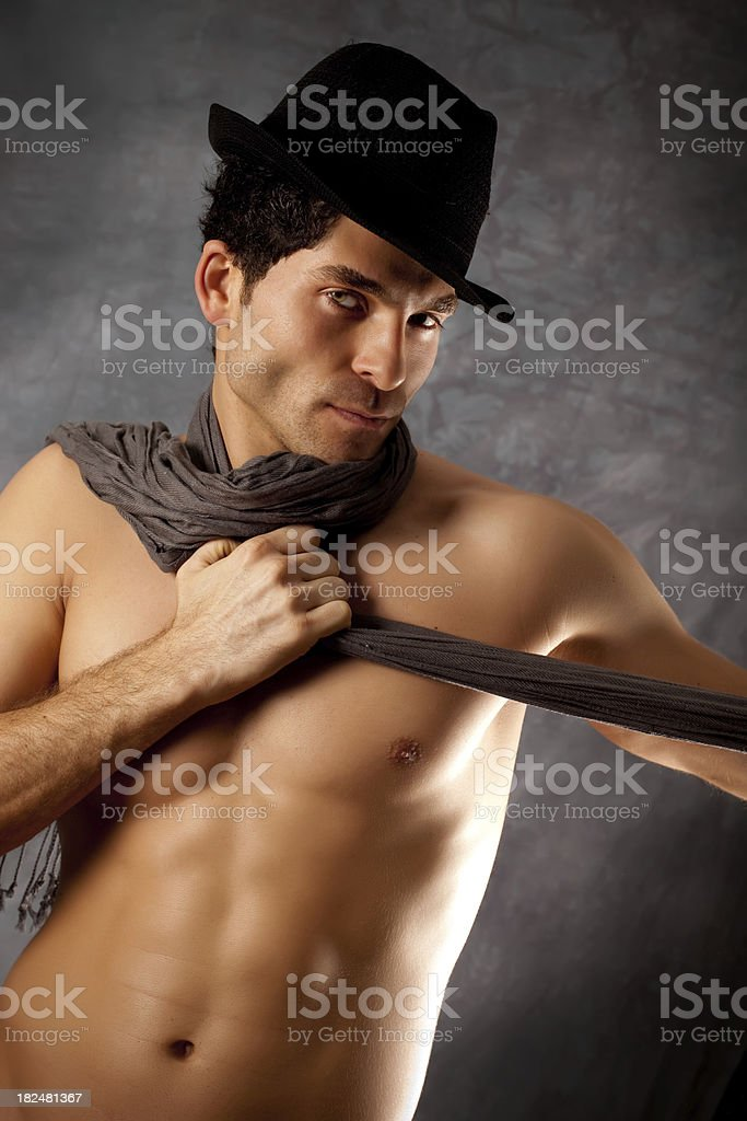 Hot sexy man with fedora hat royalty-free stock photo