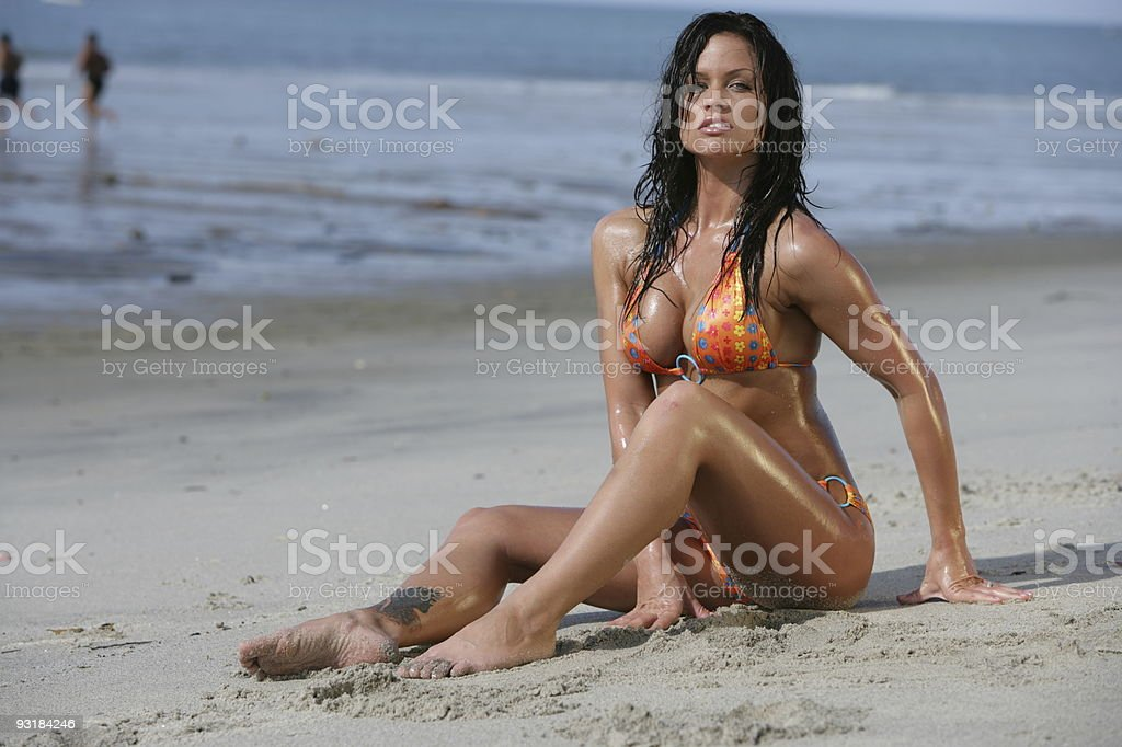 hot sexy wet brunette on the beach royalty-free stock photo