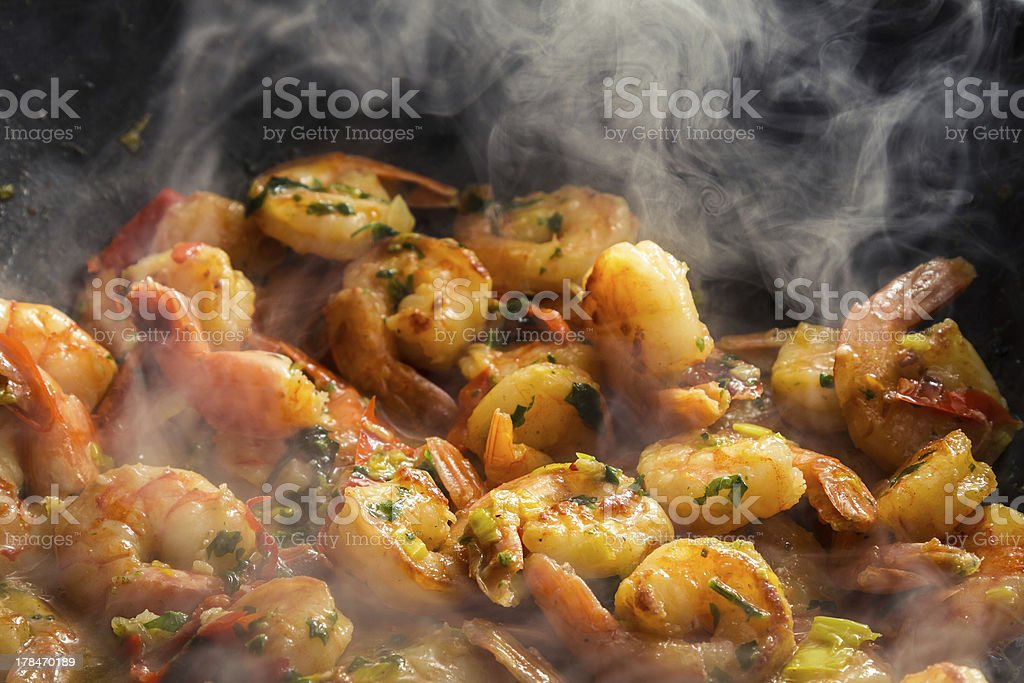 Hot shrimp fried in a pan stock photo