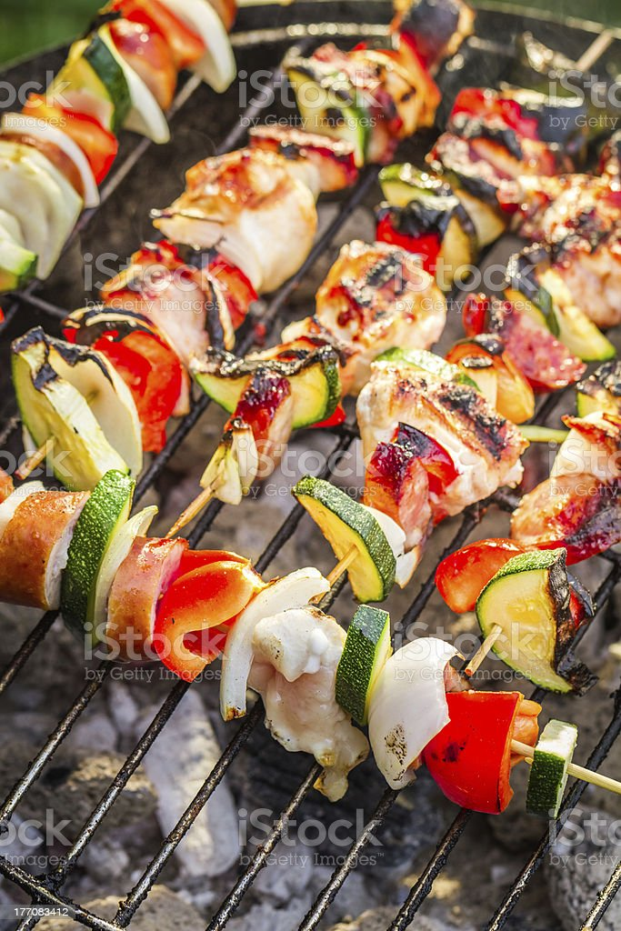 Hot skewers on the grill royalty-free stock photo