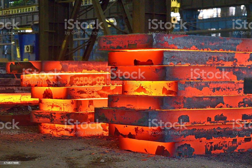 Hot slab stack stock photo
