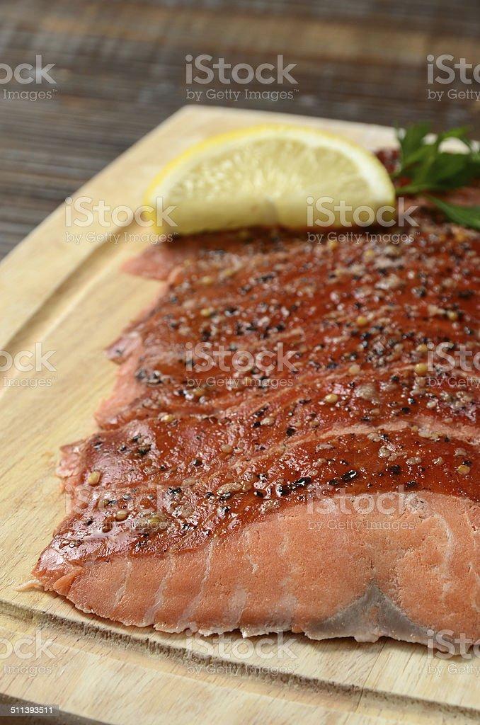 Hot Smoked Salmon stock photo
