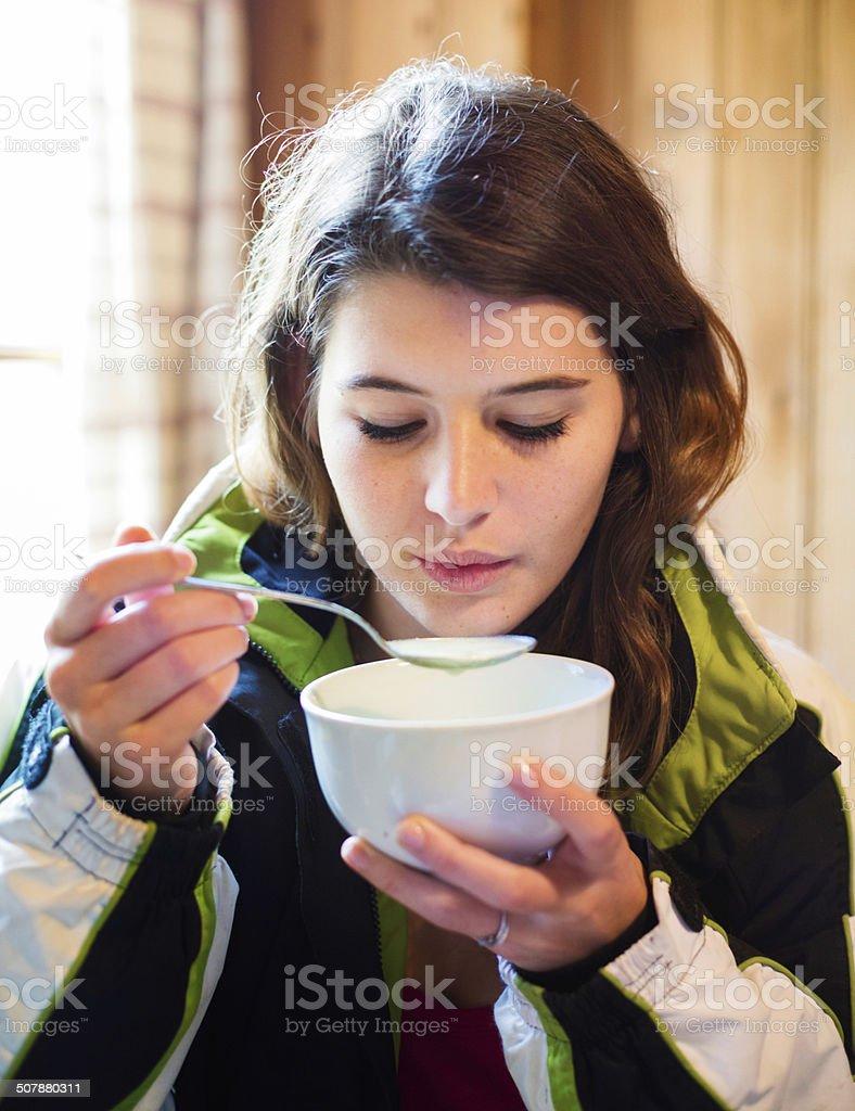 Hot soup at apres-ski cafe stock photo