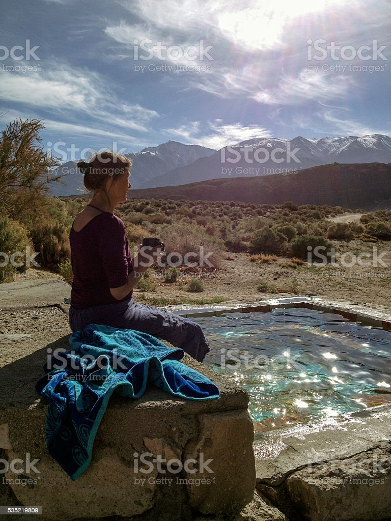 Hot Spring and Coffee stock photo