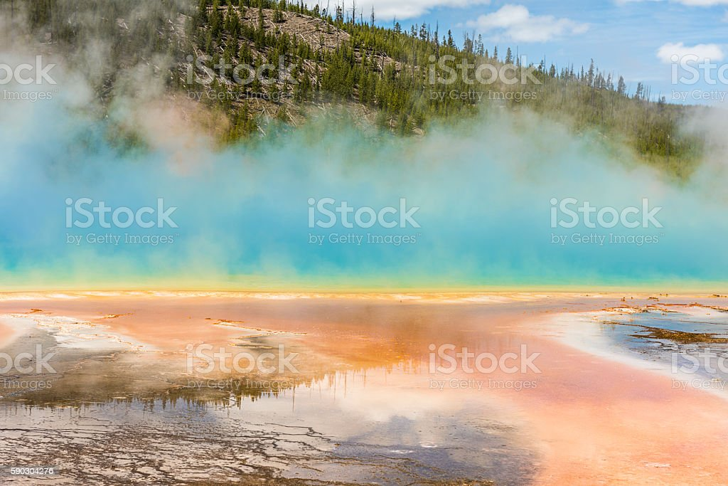 Hot spring in Midway Geyser basin at Yellowstone National Park stock photo