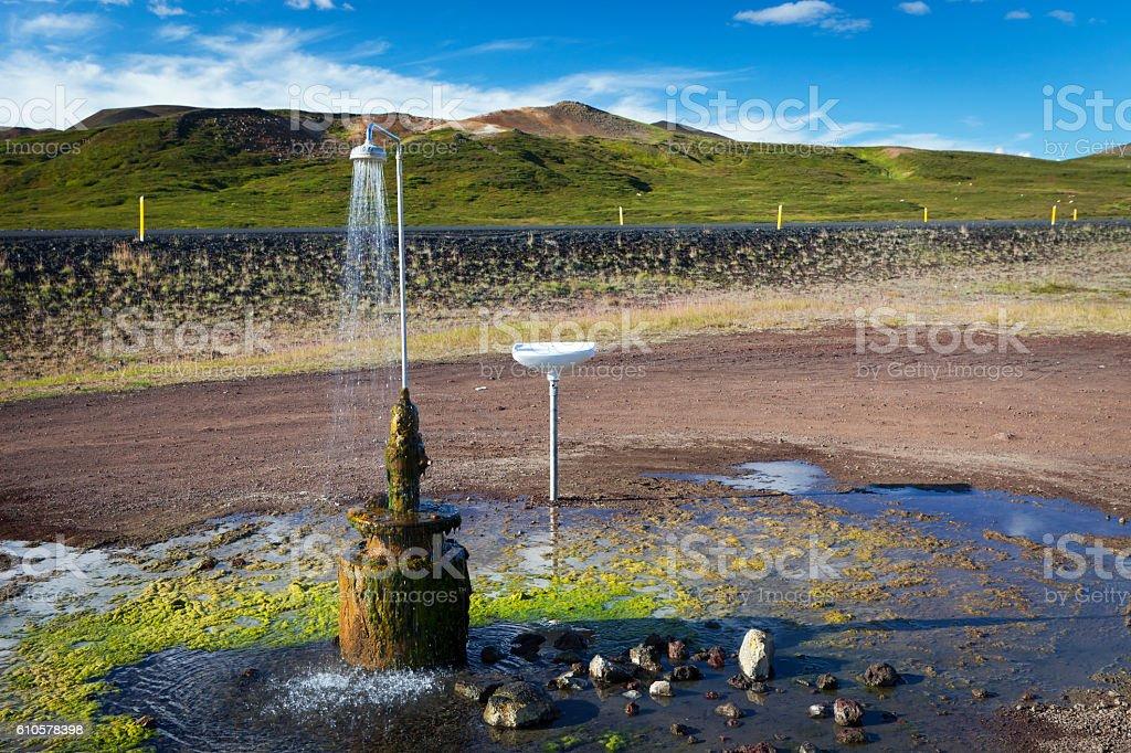 Hot spring shower, Iceland stock photo
