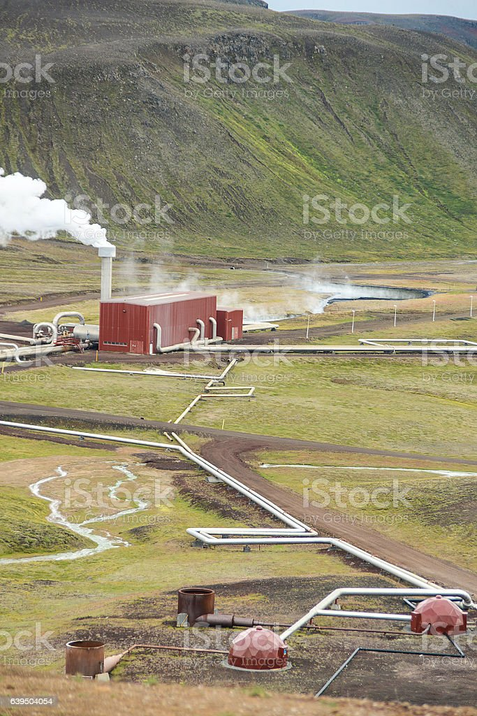 hot spring steam power plant in iceland stock photo