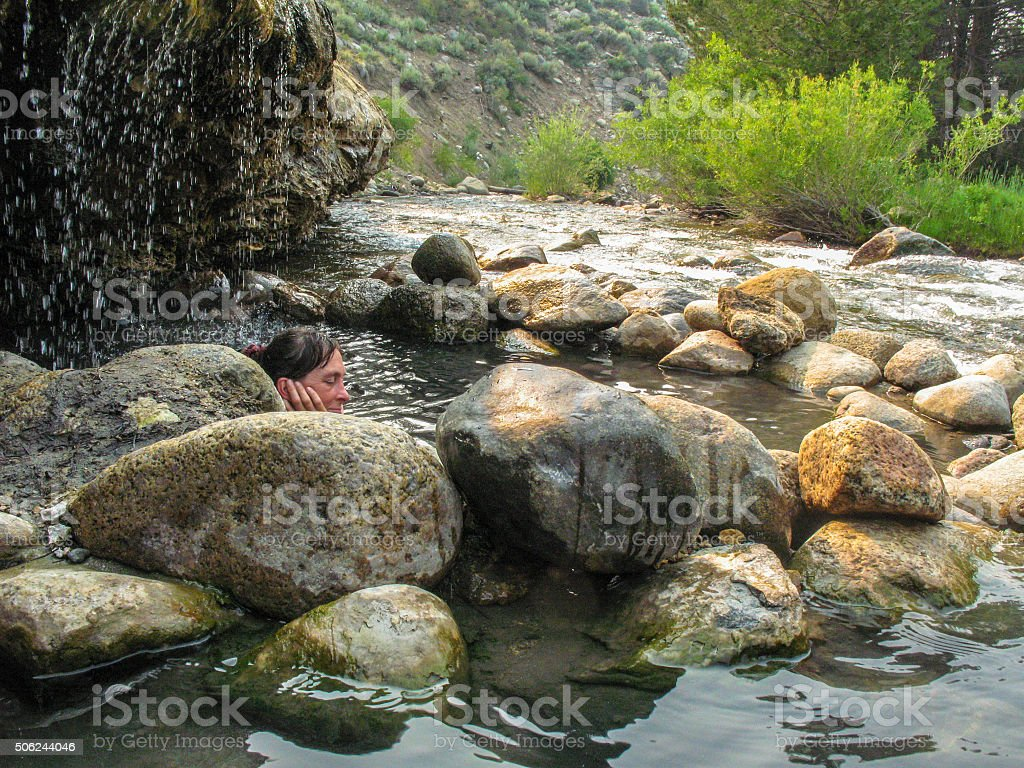 Hot spring therapy stock photo
