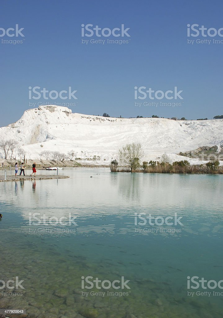 Hot springs among travertine terraces stock photo