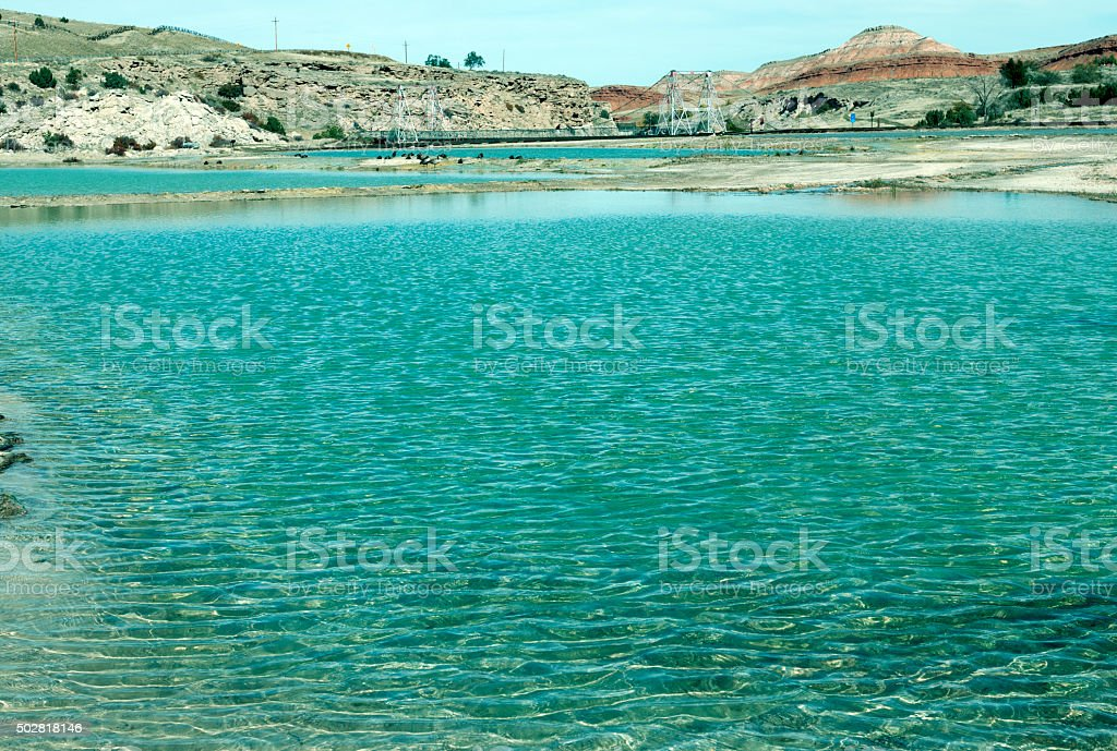 Hot springs and swing bridge at Thermopolis WY stock photo