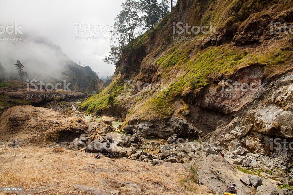 Hot springs at the Mount Rinjani Volcano, Lombok, Indonesia stock photo