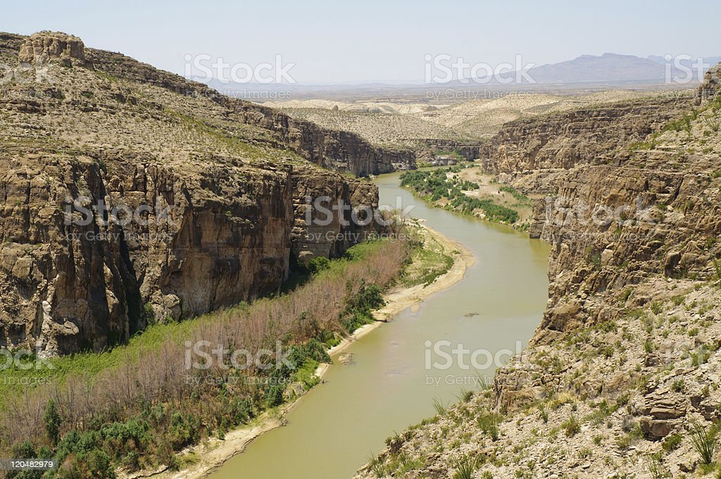 Hot Springs Canyon and Rio Grande River stock photo