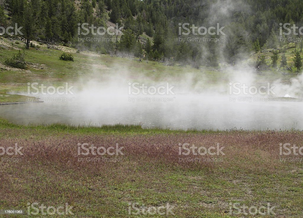 Hot Springs Hydrothermal Fumaroles Steam Yellowstone royalty-free stock photo