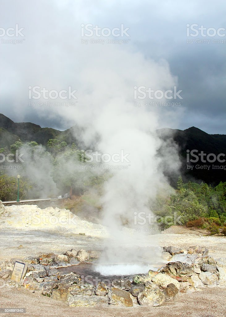 Hot springs in Furnas, Sao Miguel island, Azores, Portugal stock photo