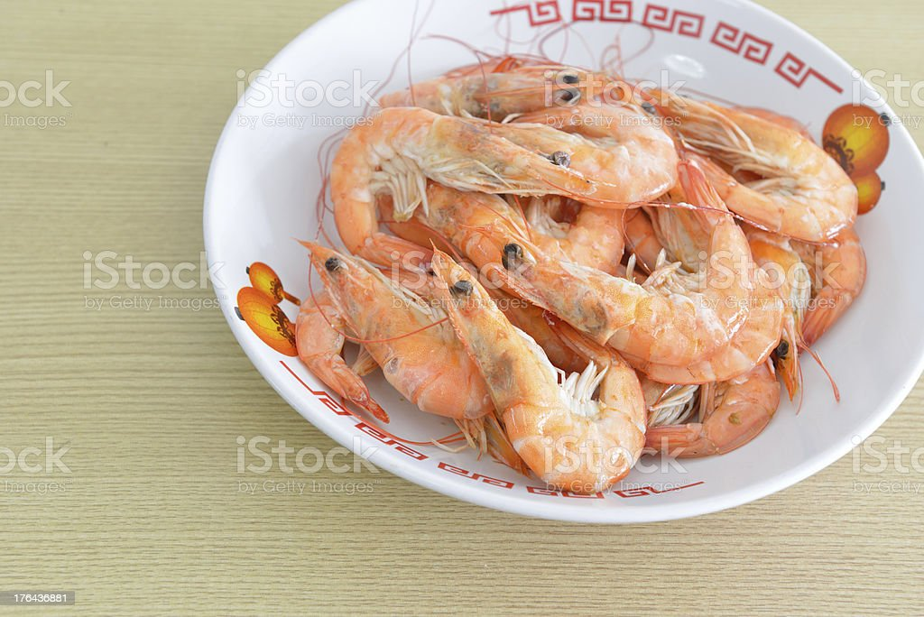 Hot steamed shrimps royalty-free stock photo