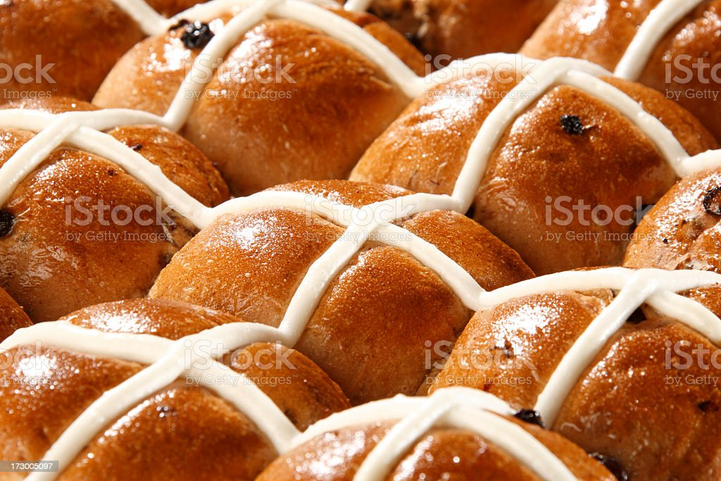 Hot, steamy and fresh hot cross buns will be yours soon stock photo