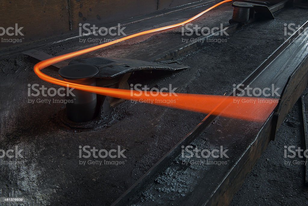 Hot steel bar stock photo