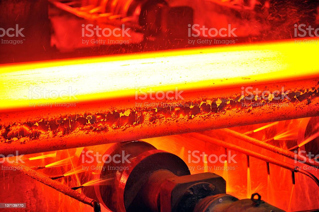 hot steel on conveyor royalty-free stock photo