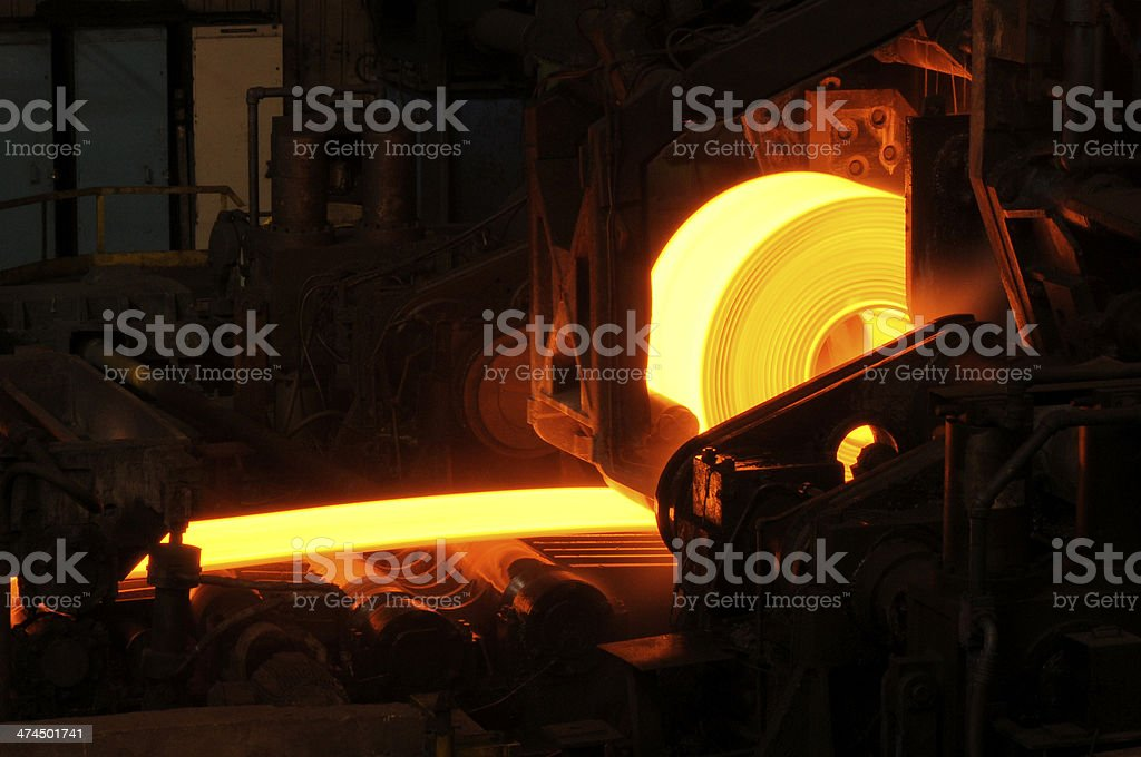 Hot Steel Rolls Manufacturing Process stock photo