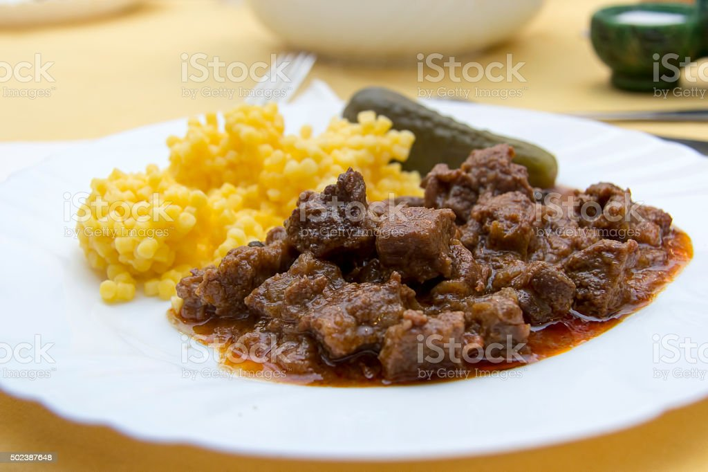 Hot stew on a plate stock photo