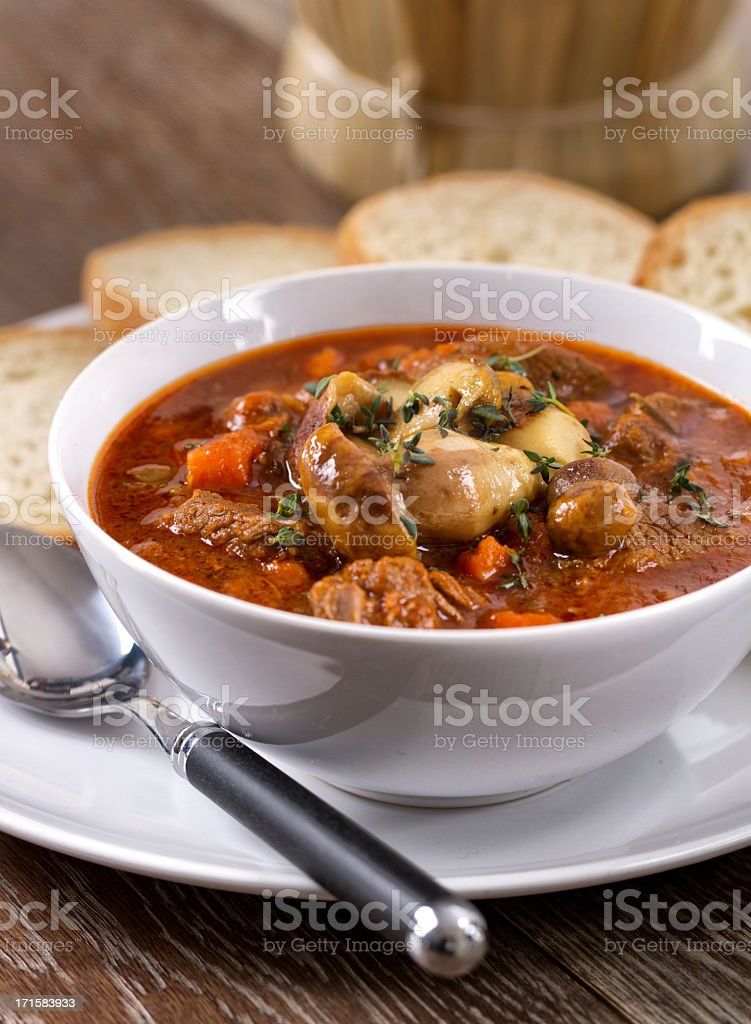 Hot stew with mushrooms royalty-free stock photo