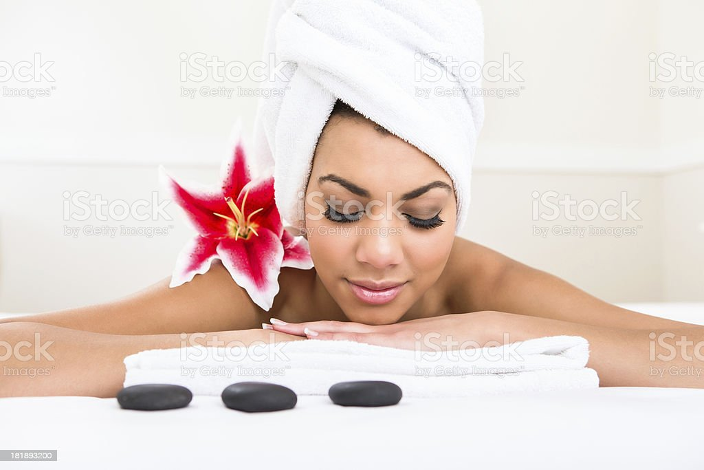 Hot stone massage royalty-free stock photo