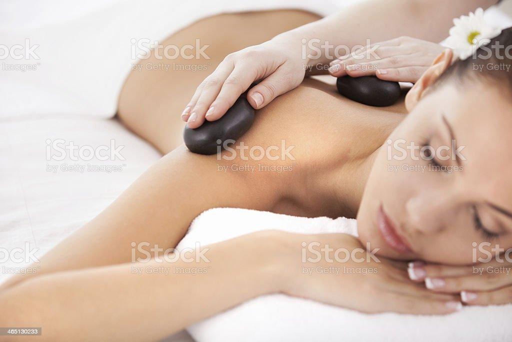 Hot stone massage. stock photo