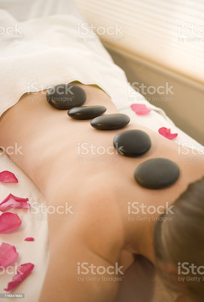 Hot Stone Treatment At A Spa royalty-free stock photo