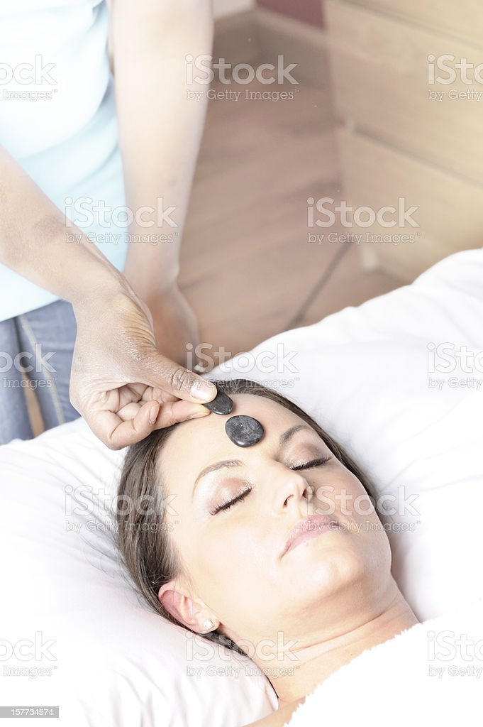 hot stones therapy for stress stock photo