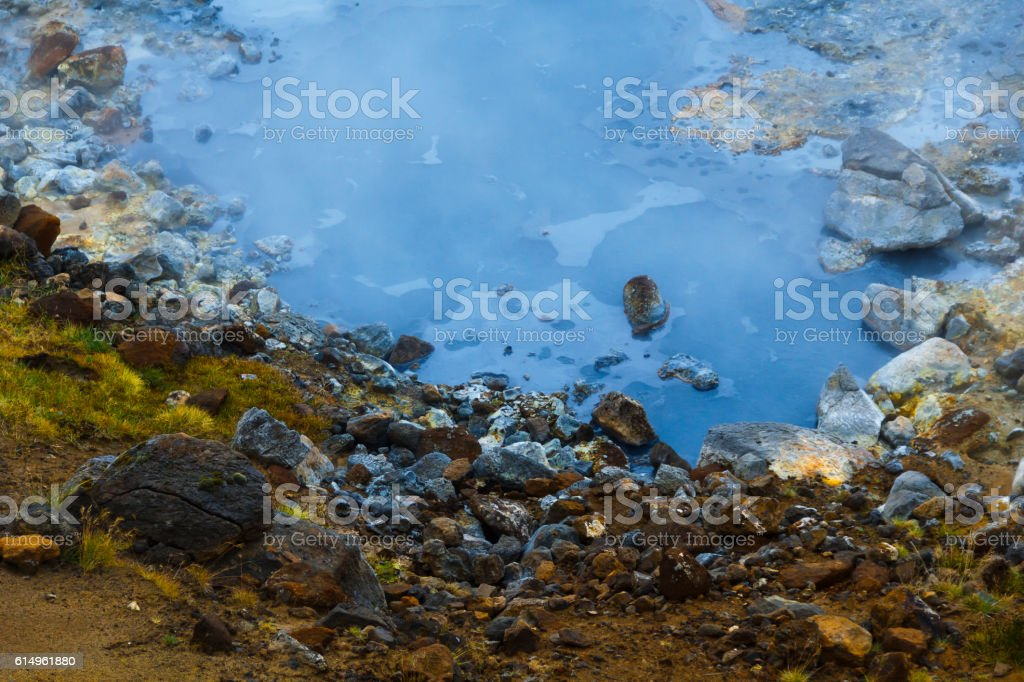 Hot stream at geothermal area in Iceland stock photo