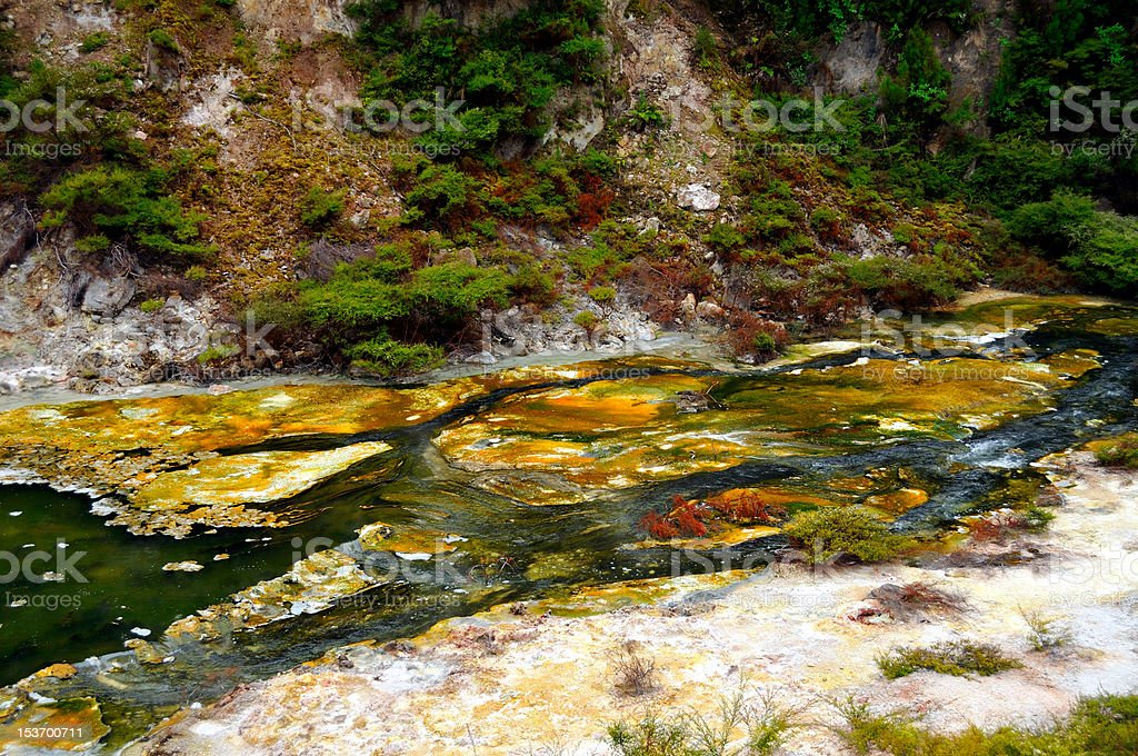 Hot Stream with mineral sediments stock photo