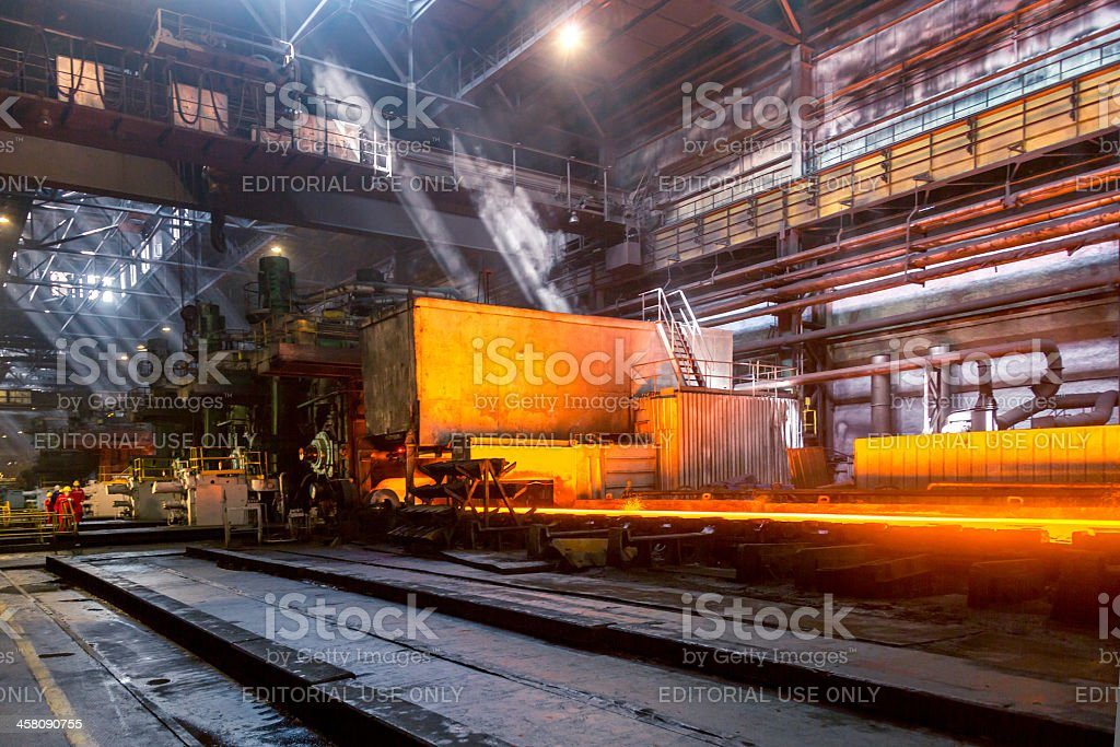 Hot strip mill for rolling steels of various grades royalty-free stock photo