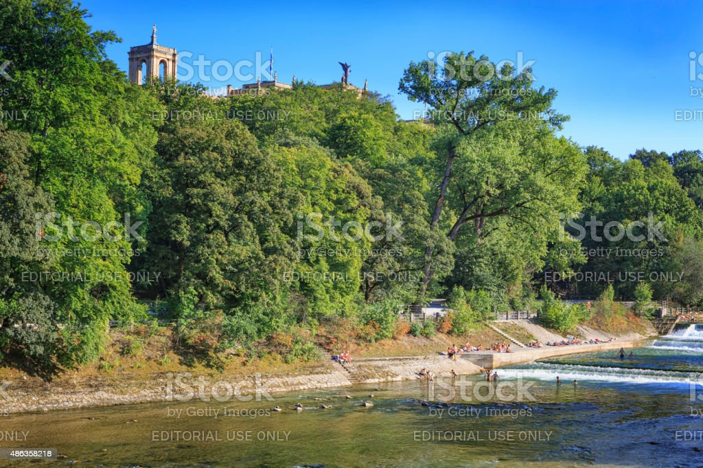 Hot summer day at river Isar in Munich stock photo