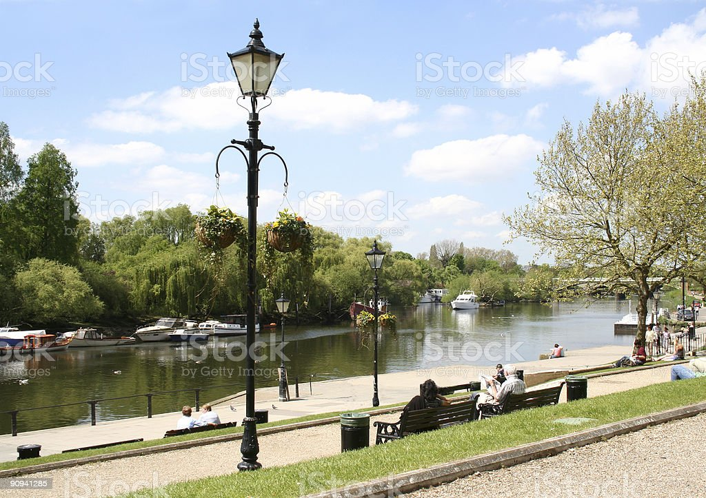 Hot summer day by the River Thames, Richmond, UK royalty-free stock photo