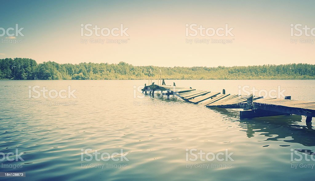 Hot summer day on an old pier stock photo