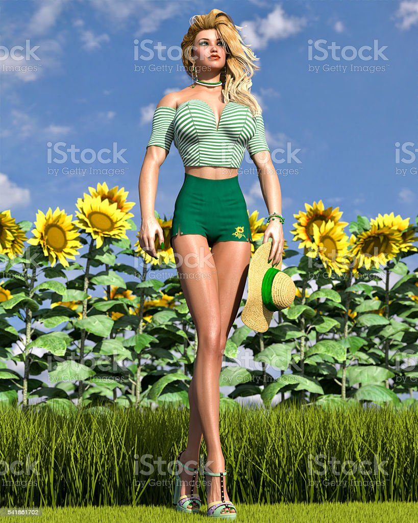 Hot Summer Time - Gorgeous Sunflower Girl stock photo